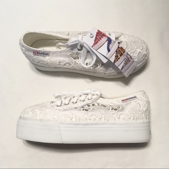 white lace platform sneakers